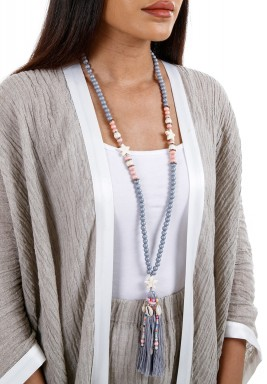 Grey & Pink Wooden Beads Necklace With Tassel