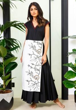 Black Pleated Skirt Belt Kaftan