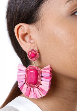 Pink Rafia Drop Earrings