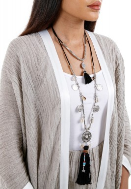 Silver & Black Boho Layered Necklace