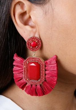 Red Rafia Drop Earrings