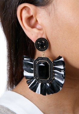 Black & White Rafia Drop Earrings