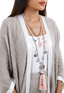 Silver & Pink Layered Boho Necklace
