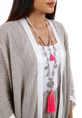 Dark Pink Boho Tassel Chain Necklace