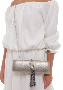 Black Mikimto Kokichi Pearls Silver Leather Clutch