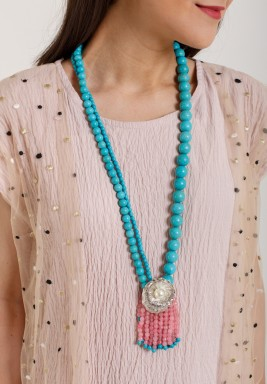 Turquoise  Faceted  Poudretteite Necklace