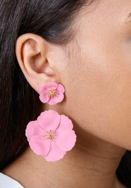Pink Detachable Flower Earrings