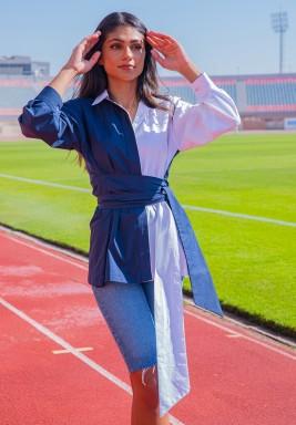 Madison White & Blue Belted Shirt