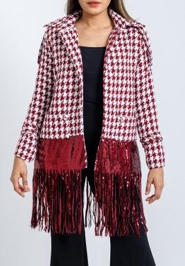 Maroon Sequined Fringes Hem Jacket