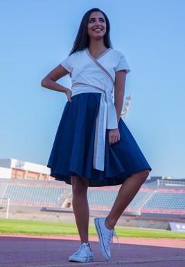 Blair White & Navy Wrap Short Sleeves Dress