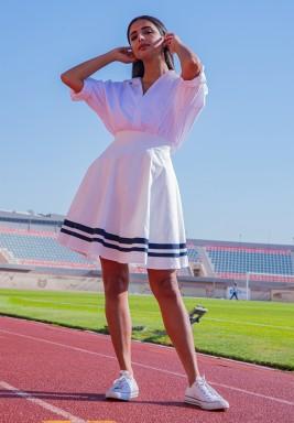 The Gigi White Striped Skirt
