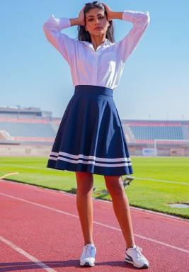 The Gigi Navy Striped Skirt