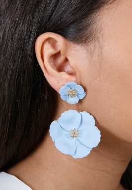 Blue Detachable Flower Earrings
