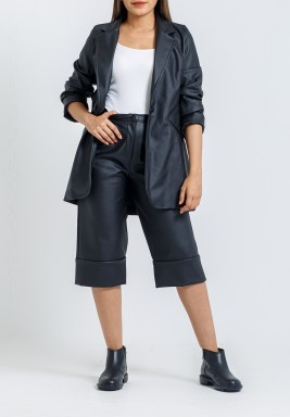 Black Leather Jacket & Shorts Set