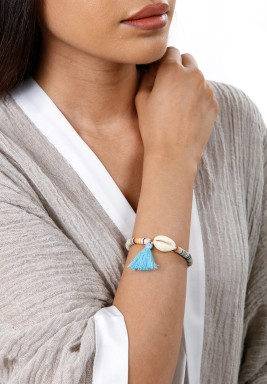 Colorful Beads Light Blue Tassel Bracelet