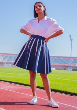 Manhattan Navy Striped High Waist Skirt