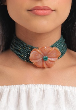 Hand Carved Agate Flower Green Crystals Necklace