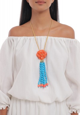 Coral Flower & Turquoise Necklace