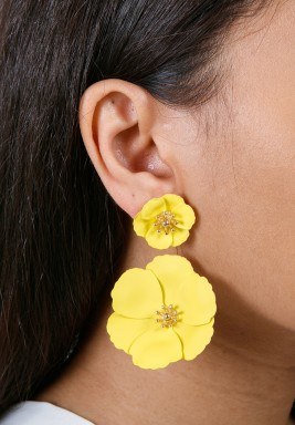 Yellow Detachable Flower Earrings