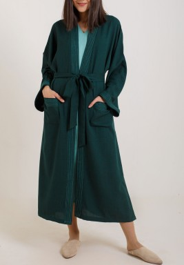 Green Stitched Midi Jacket