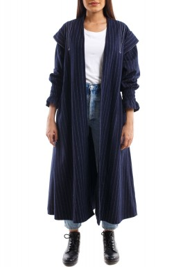 Navy Striped Long Sleeves Bisht