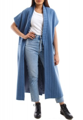 Blue Striped Short Sleeves Bisht
