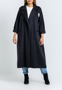 Grey Tailored Oversized Tissue Pocket Bisht