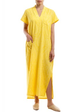 Yellow Printed V-Neck Kaftan