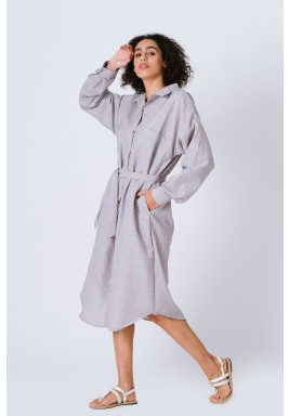 Grey Long Shirt Dress