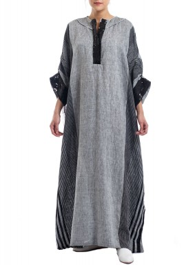 Grey Striped Sequined Kaftan