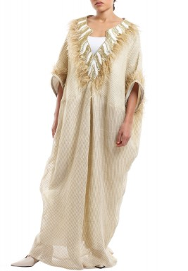Beige Feathered Neck & Sleeves Kaftan