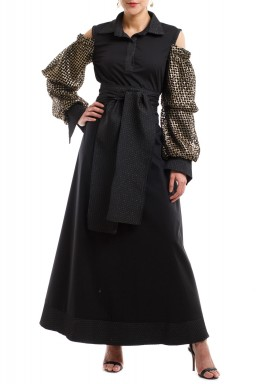 Black & Gold Net Sleeves Kaftan