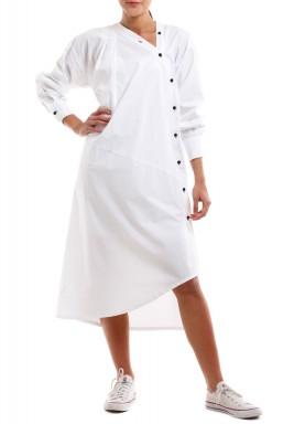 Diagonal Buttons White Dress
