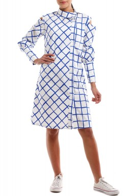White blue squares cutout shoulder dress