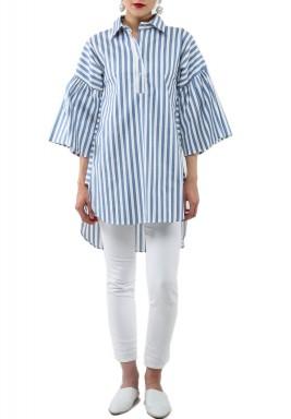 Blue Striped 3/4th Sleeves Shirt