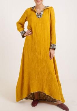 Yellow with hood kaftan