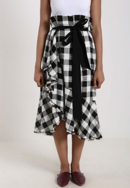 Black & White Checked Ruffled Skirt