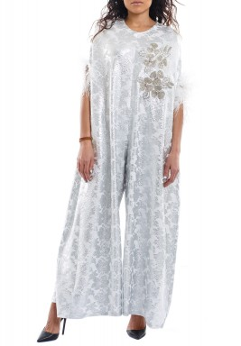 Silver Patterned Feathered Sleeves Jumpsuit
