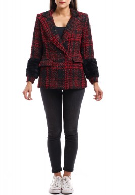 Red Checked Fur Sleeves Blazer