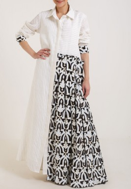 White with Black Piece Kaftan
