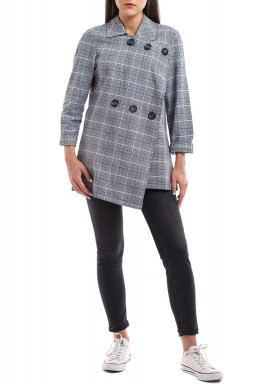 Grey Checked Buttoned Blazer