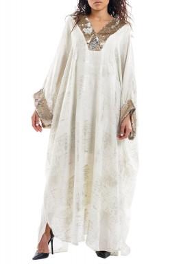 Beige Sequined Neck & Sleeves Kimono
