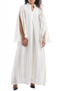 Silver Sequined Leaves white Kaftan
