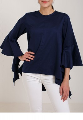 Navy Ruffled High-Low Shirt