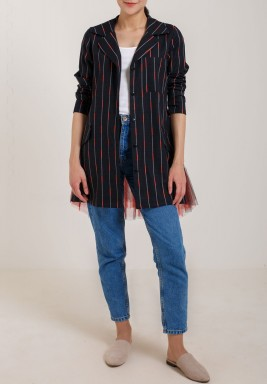 Black Striped Tulle Blazer