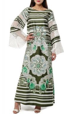 Green Floral Striped Kaftan