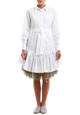 Gold Net White Dress