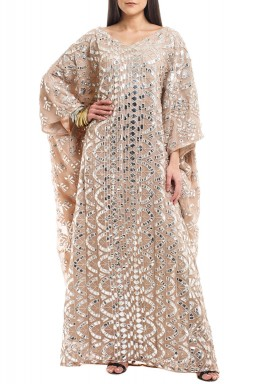 Blush Mirror Embroidered kaftan