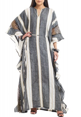 Black & White Striped Net Kaftan