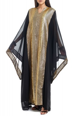 Black & Gold Sequined Kaftan
